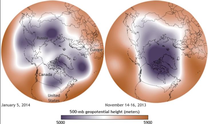Balra: atipikus sarki hőmérsékleti viszonyok, jobbra: tipikus sarki hőmérsékleti viszonyok