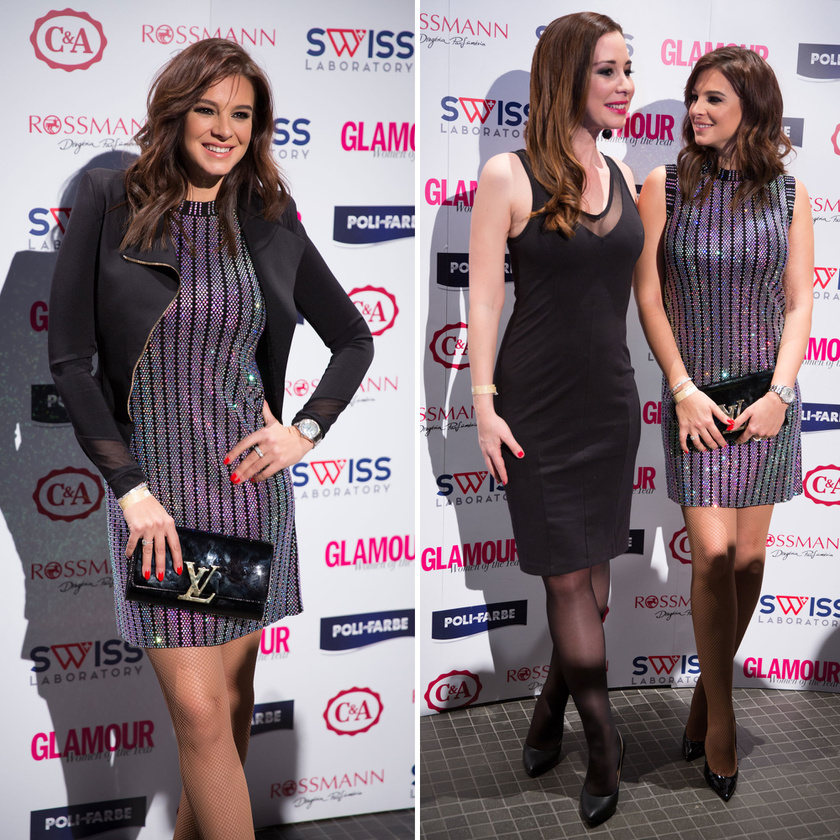 Sarka Kata ibolyában csillogó ruhában, amelyhez Louis Vuitton-táskát és -cipőt választott.