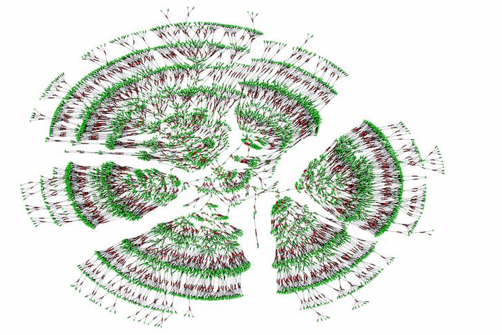 Ez csak egy hétgenerációs, hatezer fős családfa. A zöld szín a vérségi kapcsolatokat, a piros a házassági kapcsolatokat jelöli.