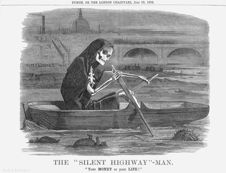 A Halál evez a folyó csendes országútján – a Punch humormagazin 1858. július 10-ei számából