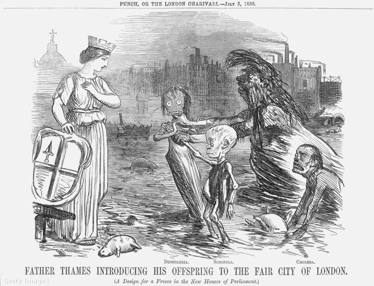 Temze atya bemutatja gyermekeit, Diftériát, Gümőkórt és Kolerát Londonnak – a parlament új épületébe szánt freskó terve a Punch humormagazin 1858. július 3-ai számából