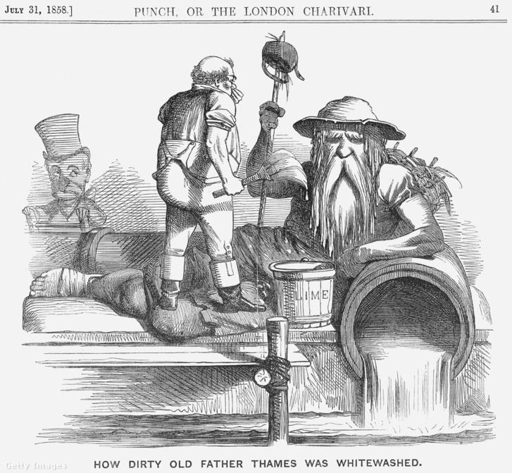 Temze atya megtisztítása – karikatúra a Punch humormagazin 1858. július 31-ei számából
