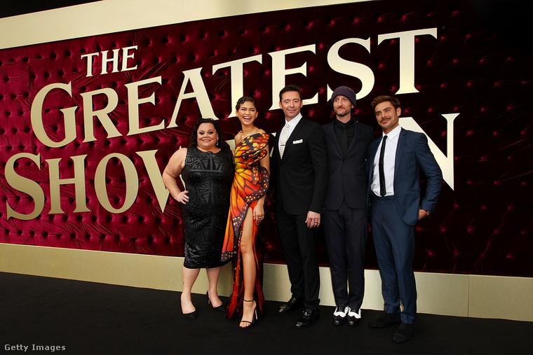 A legnagyobb showman című film szereplői egy sajtóeseményen