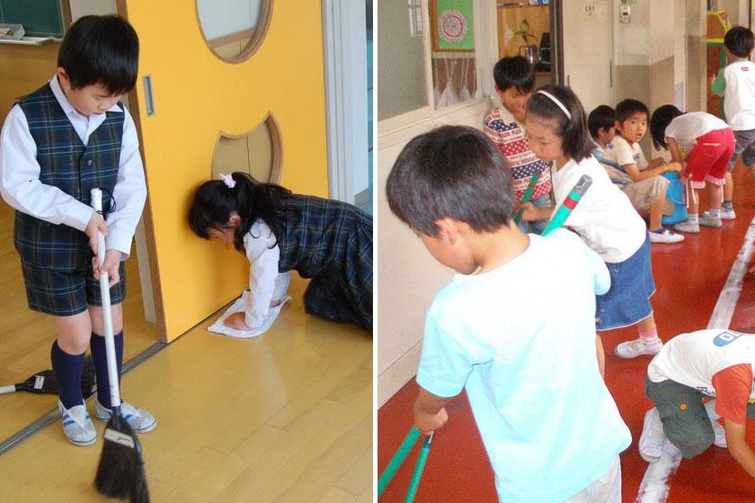 Egyenruhában vagy sem, de Japánban minden diák köteles takarítani az osztályteremben és az iskola más helyiségeiben, a mosdóktól a folyosókig.