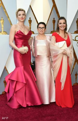 Enyedi Ildikó, a legjobb idegen nyelvű film díjára jelölt Testről és lélekről rendezője (k), Borbély Alexandra színésznő (b) és Mécs Mónika producer