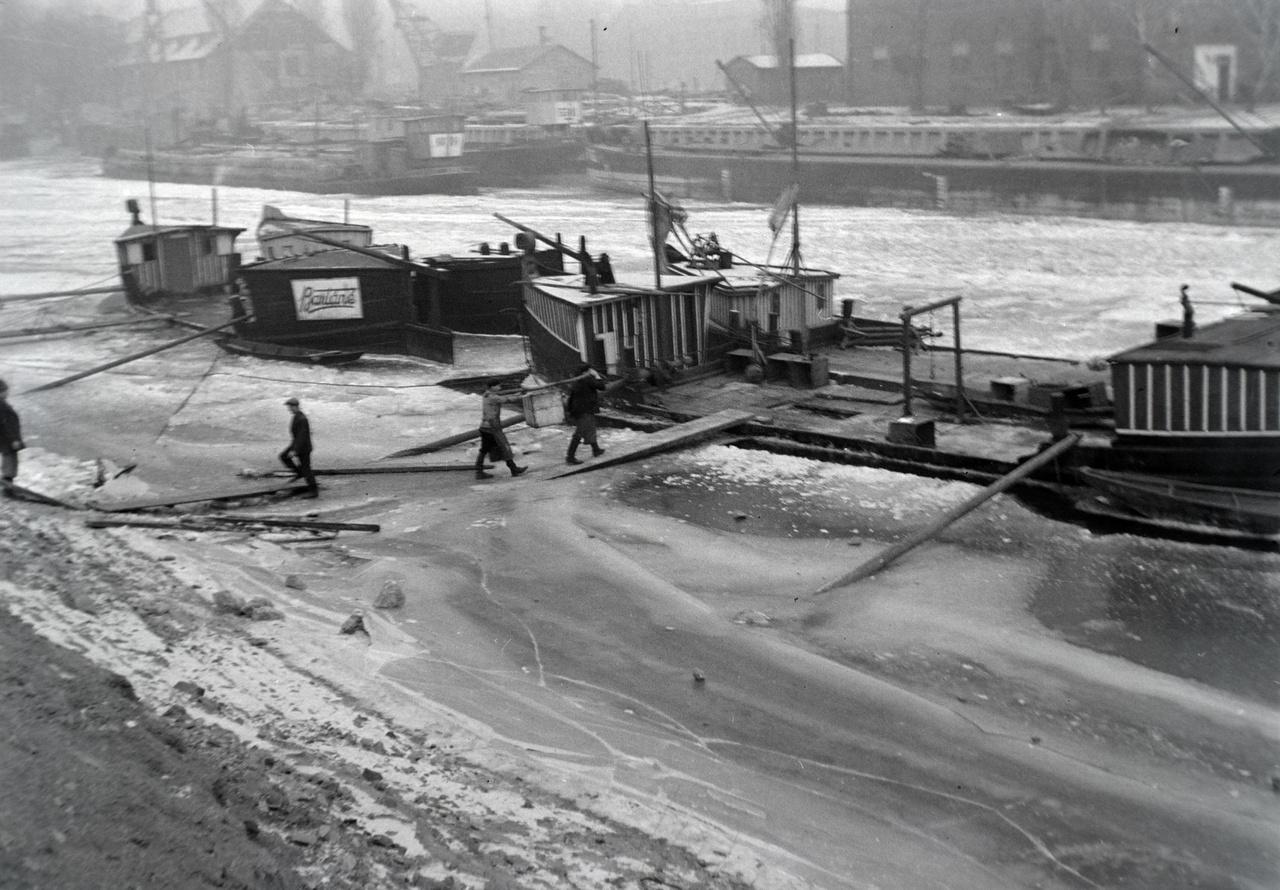Helyszínként  befagyott népszigeti öbölre tippelek, háttérben a hajójavító vállalattal. A cég egy része ma is működik, a Közép-Dunán állítólag itt található olyan daru, amivel az uszályok lerobbant motorját ki lehet emelni. Az óriás, sárga  GANZ daru az újpesti partról most is  jól látható az összekötő vasúti hídnál, kezelője, Kun Pista régi cimborám, az én horgászbárkámat is ő szokta kiemelni, amit most is az üzem területén kalapálgatok. Az egyik régi csarnokban jelenleg egy festő barátom használja jelenleg műteremnek. A képen látható bárkák előző nap köthettek ki, látszik, hogy a jég az még viszonylag friss, pallót kellett rátenni a halak biztonságos kihordásához.