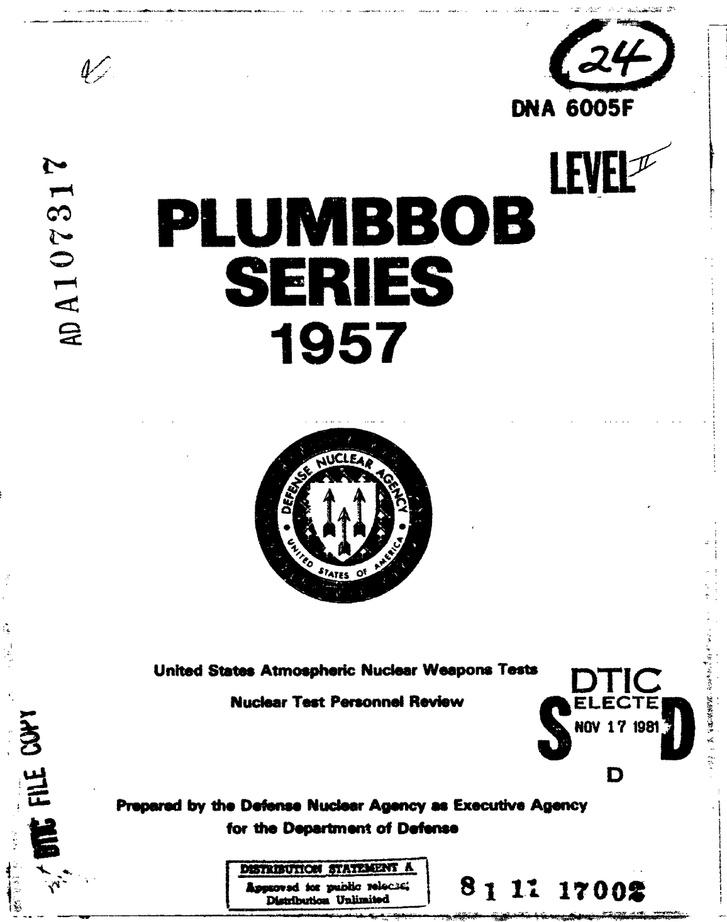 A Plumbbob tesztsorozatról készült jelentés borítólapja