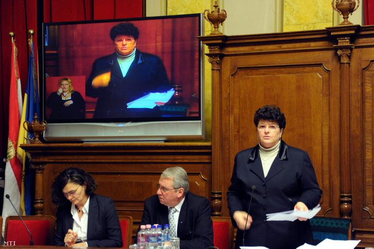 Korsós Ágnes (j) főjegyző beszél a hódmezővásárhelyi közgyűlés ülésén 2012. február 2-án.