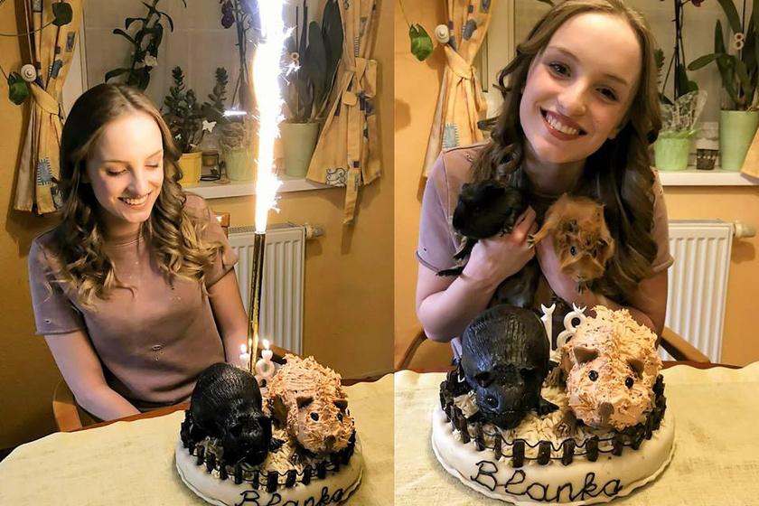 Szandi a lánya 18. születésnapjára is maga sütötte a tortát, amit ezúttal tengerimalacok díszítettek.