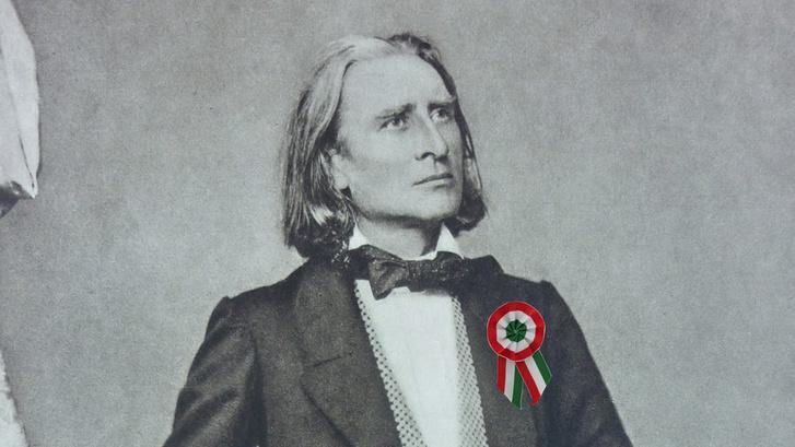 Liszt Ferenc kokárdával