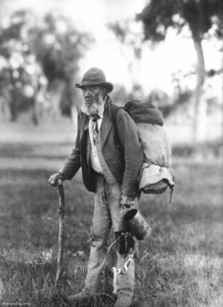 Ausztrál vándormunkás (swagman) és matildája 1901 körül