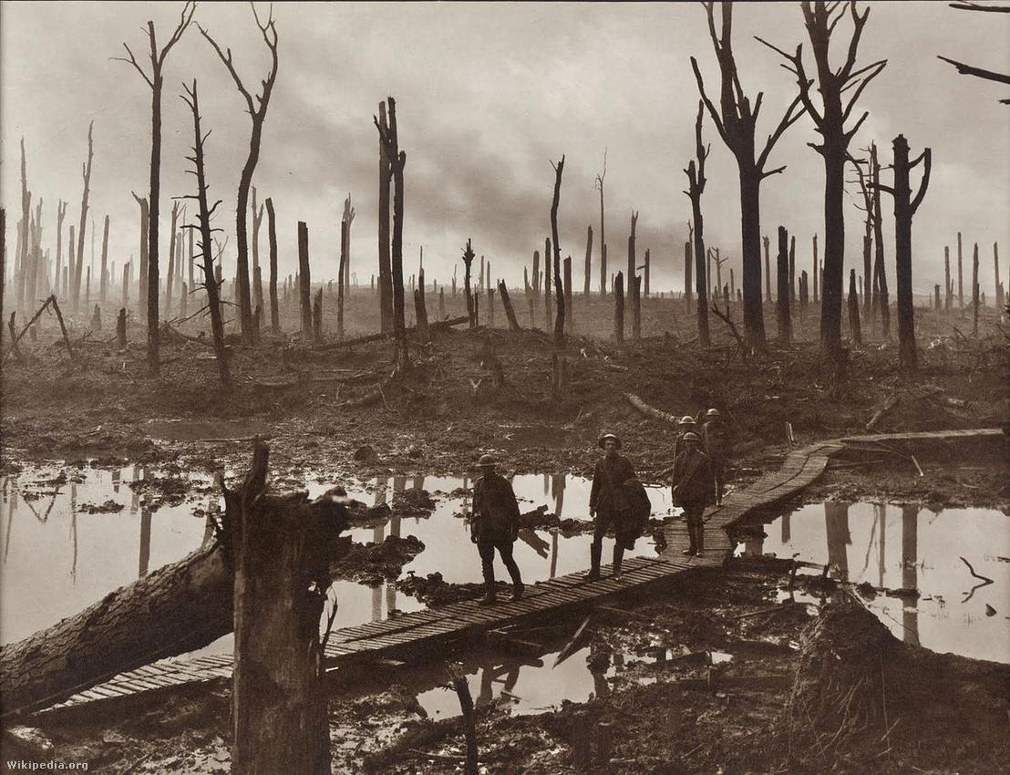 Ausztrál katonák a sártengeren átvezető pallókon 1917. október 29-én Hooge mellett. Tökéletesen látszik a tüzérséggel letarolt erdő is.