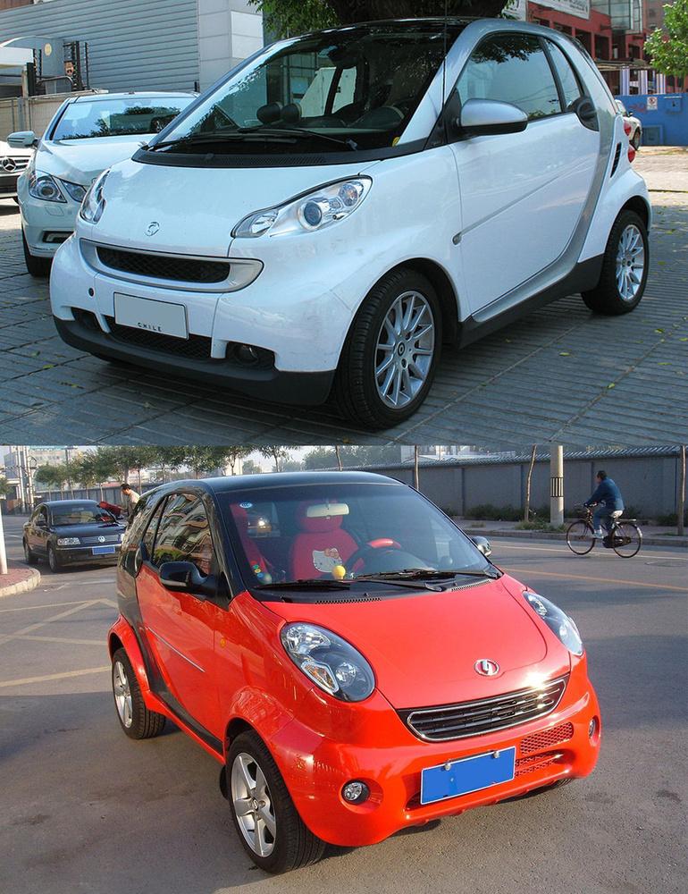 Smart Fortwo/Shuanghuan Noble:                          A Daimler ügyvédeinek nem kevés munkaórájában van ez a kis Smart-klón, ami amúgy a Suzuki Alto rövidített padlólemezére épül, a Wagon-R motorját kapja és a Smarttal szemben ebben négy ülés van