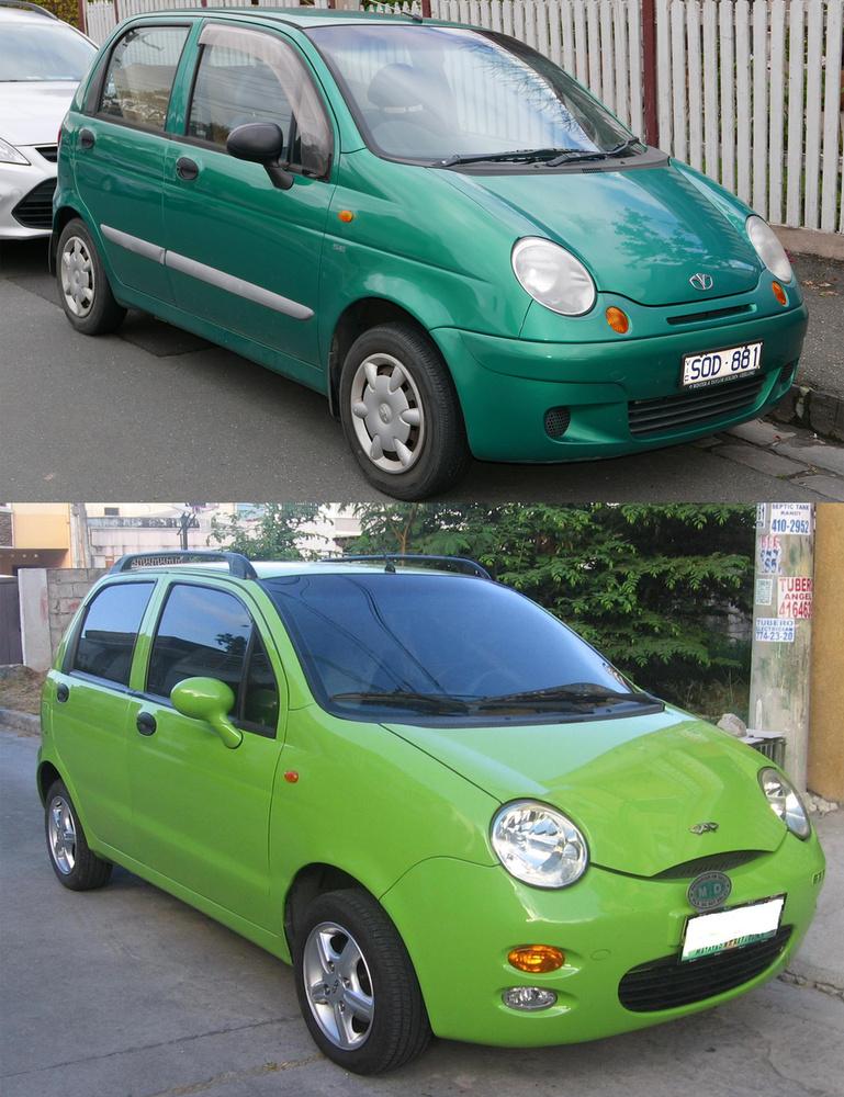 Daewoo Matiz, Chevrolet Spark/Chery QQ:                         A GM-nek is jó korán meg kellett tapasztalnia, hogy Kínában nincs olyan, hogy szellemi termék védelme