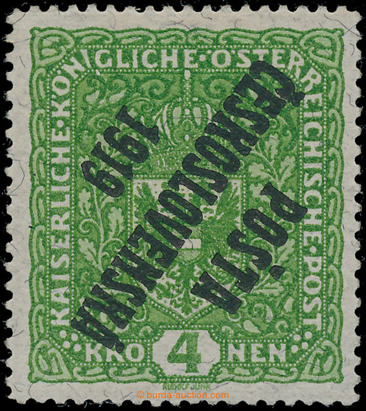Az eredetileg négy csehszlovák korona értékű, zöld színű bélyeget még Ausztriában adták ki, de Csehszlovákia megalakulása után Posta Ceskoslovenská 1919 (Csehszlovák Posta 1919) fekete színű felirattal felülbélyegezték.