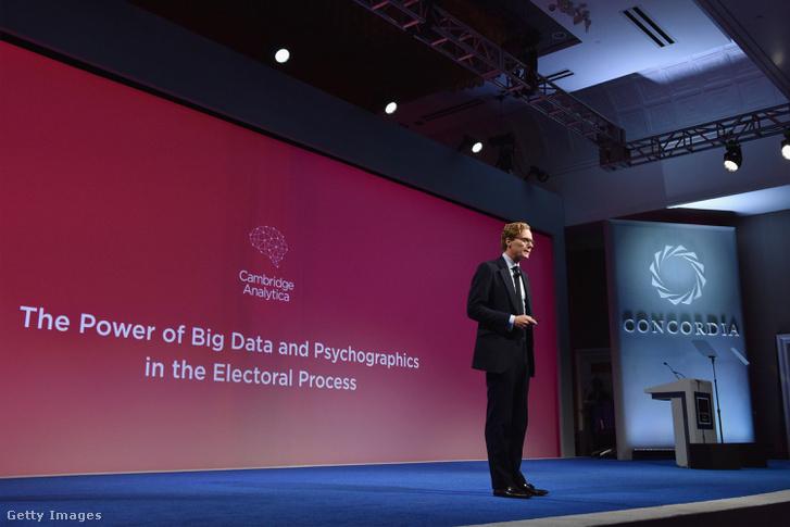 Alexander Nix, a Cambridge Analytica igazgatója a 2016-os Concordia-csúcstalálkozón, New York-ban