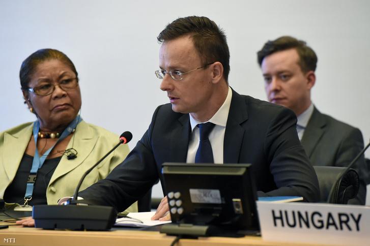 Szijjártó Péter beszél az ENSZ Emberi Jogi Tanácsa ülésén Genfben 2018. március 19-én