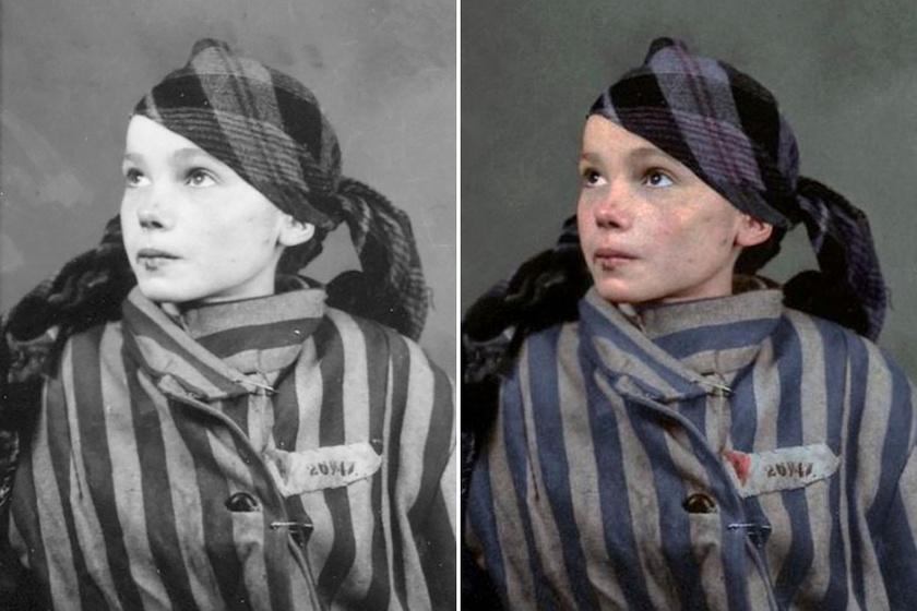 Auschwitzban halt meg a 14 éves lány: utolsó fotói még megrázóbbak színesben