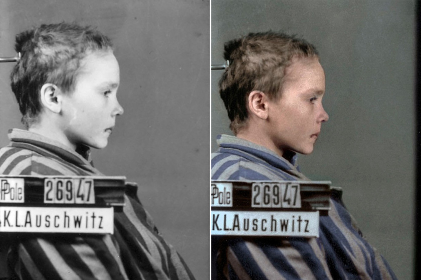 Egy művész színessé varázsolta az auschwitzi képeket, és közben sokáig a lány arcát nézte, amit később nehéz volt megemésztenie.