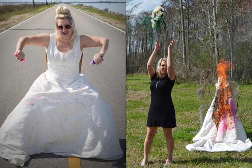A menyasszonyi ruhája bánta a nő válását: befestette, felgyújtotta, és az egészet végigfotóztatta