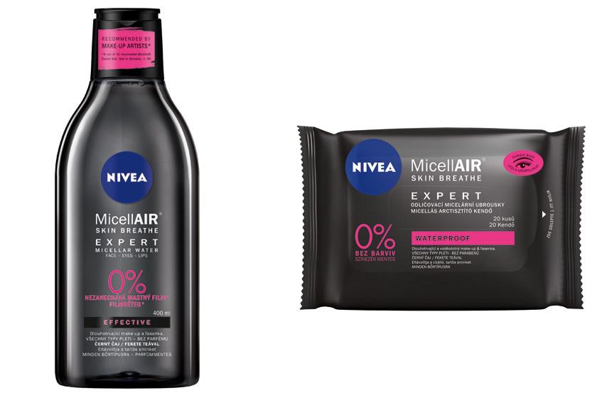 A Nivea Expert micellás vize feketetea-kivonattal gyengéden, mégis hatékonyan távolítja el a sminket. Az arctisztító kendő leszedi a vízálló make-upot, és közben védi a pillákat. Előbbi 1999, utóbbi 1349 forint.
