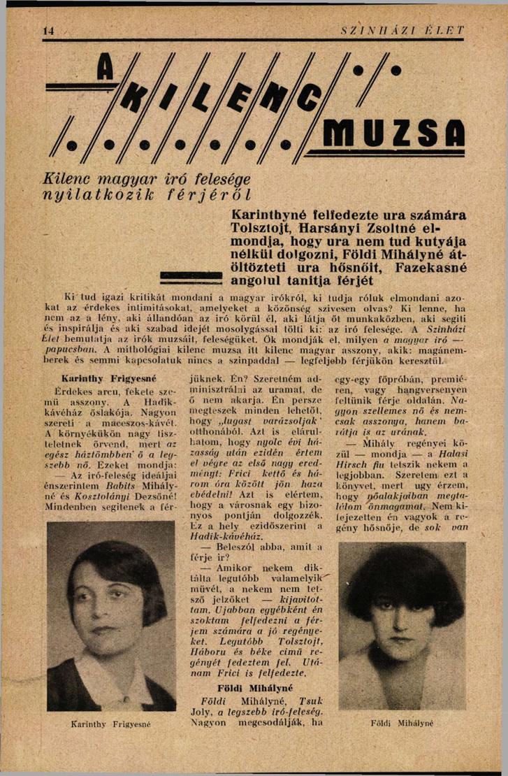 A Szinnházi Élet 1928-as cikke