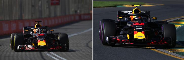 Daniel Ricciardo (balra) fedélzeti kamerája fekete, Max Verstappen (jobbra) kamerája viszont sárga, Whiting szerint ezt érdemes figyelni futam közben