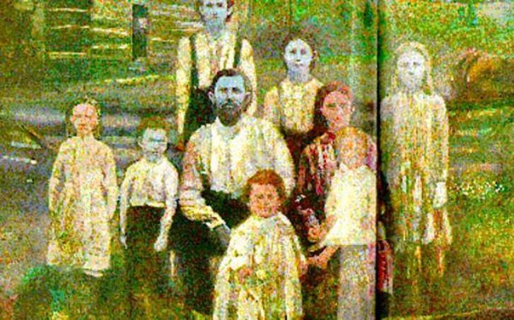 A Fugate család egy korabeli, kiszínezett fotón