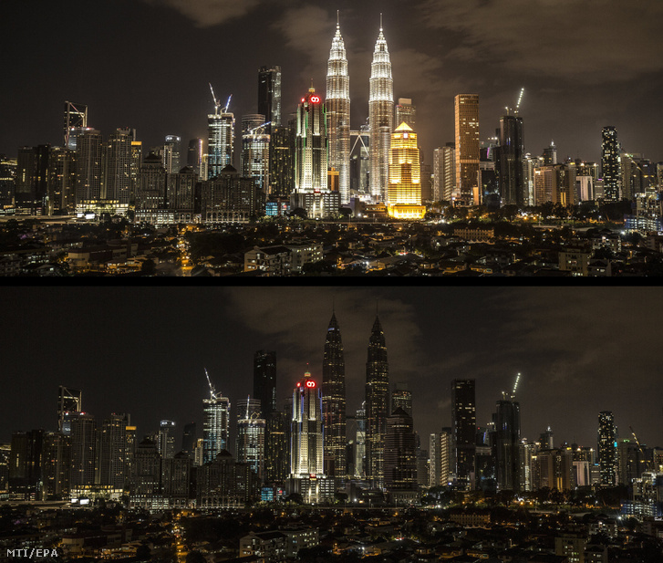 Kombókép a 452 méter magas Petronas ikertornyokról
