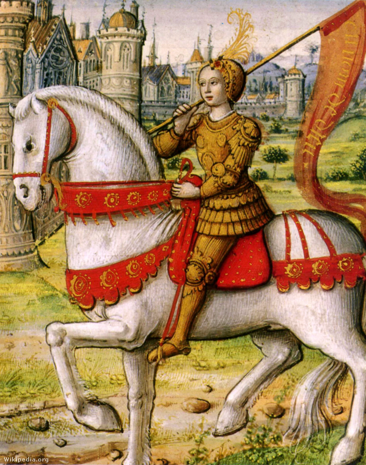 Jeanne d'Arc lóháton, páncélban egy 1505-ös ábrázoláson