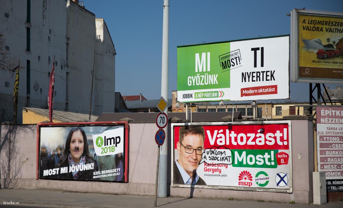 Kampányplakátok a Róbert Károly körúton