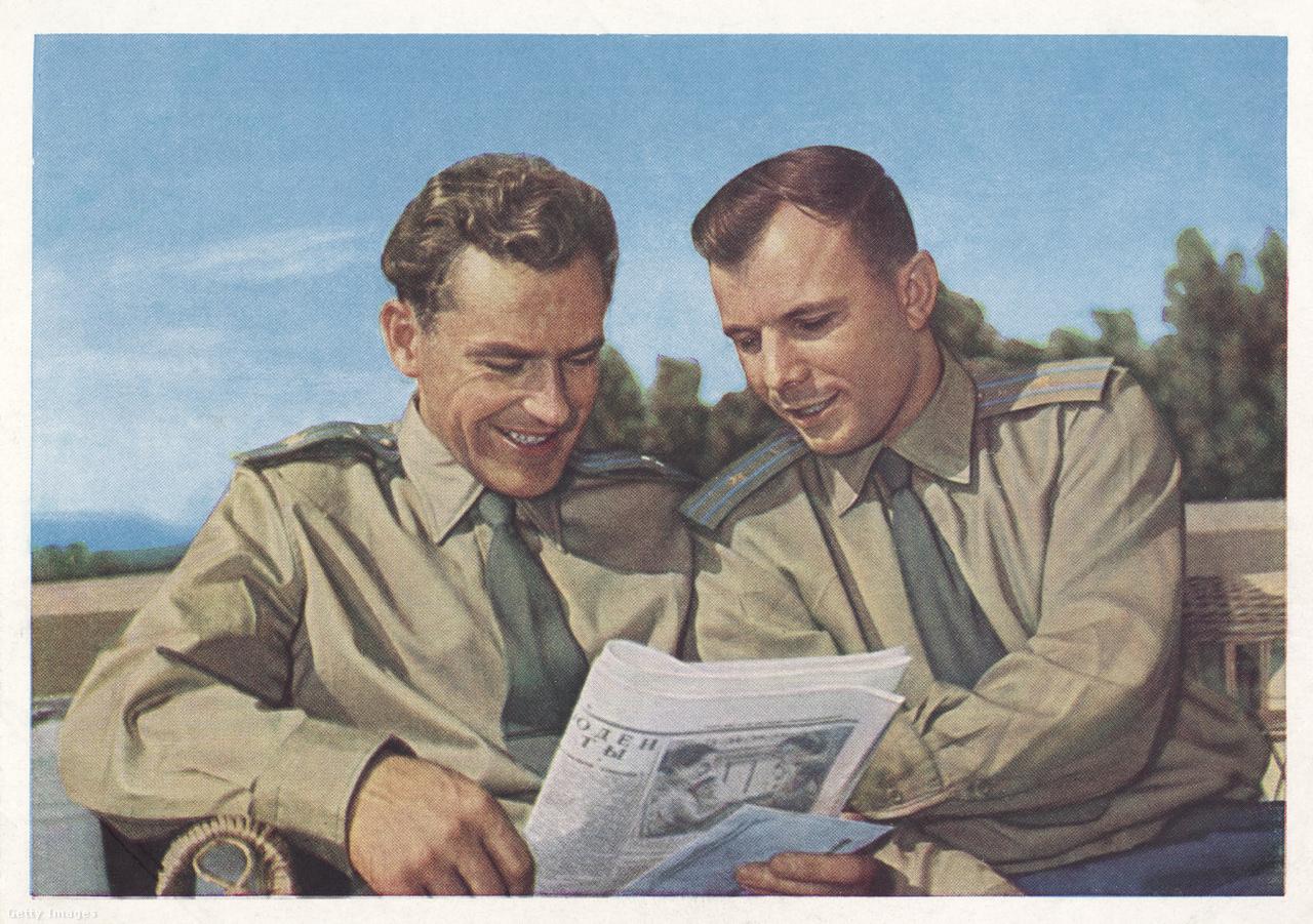 Gagarin és Tyitov, az első és második ember a kozmoszban.