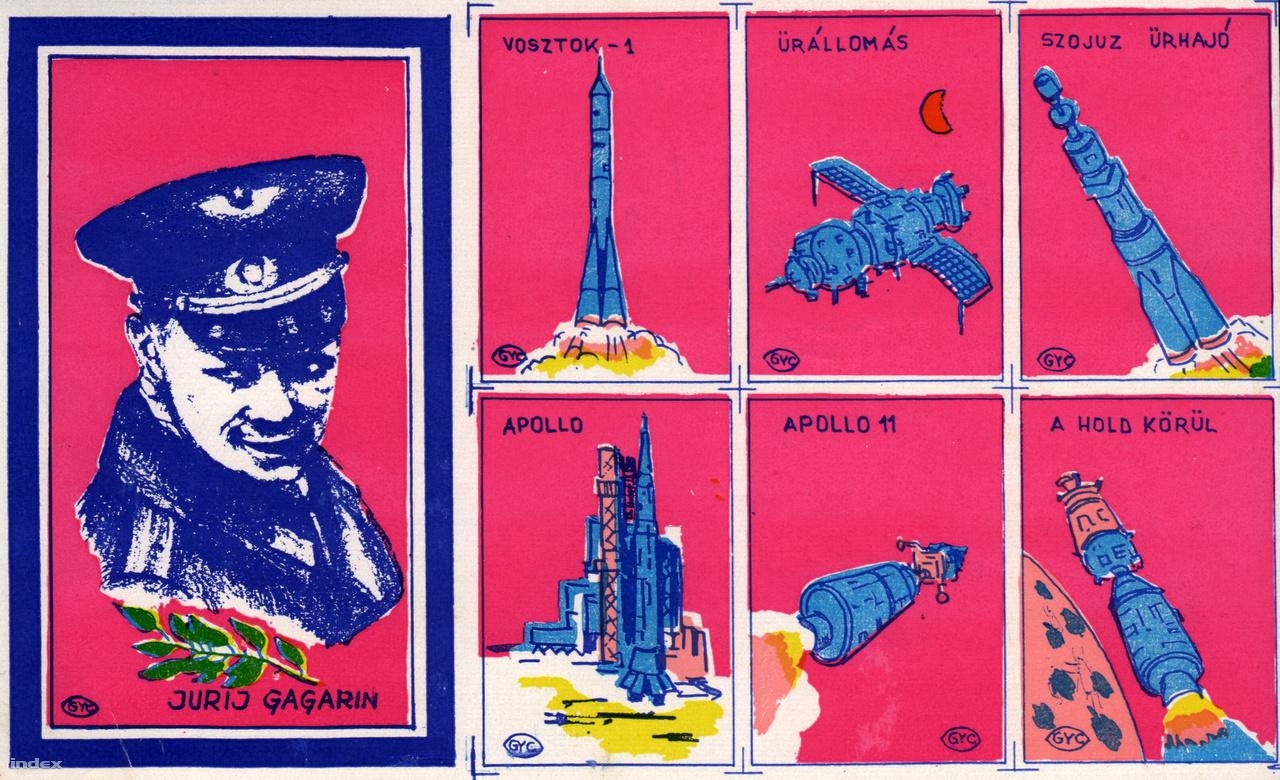 Magyar pszichedelikus gyufacímke-sorozat egy meglehetősen bizarr Gagarinnal, a hetvenes évekből.