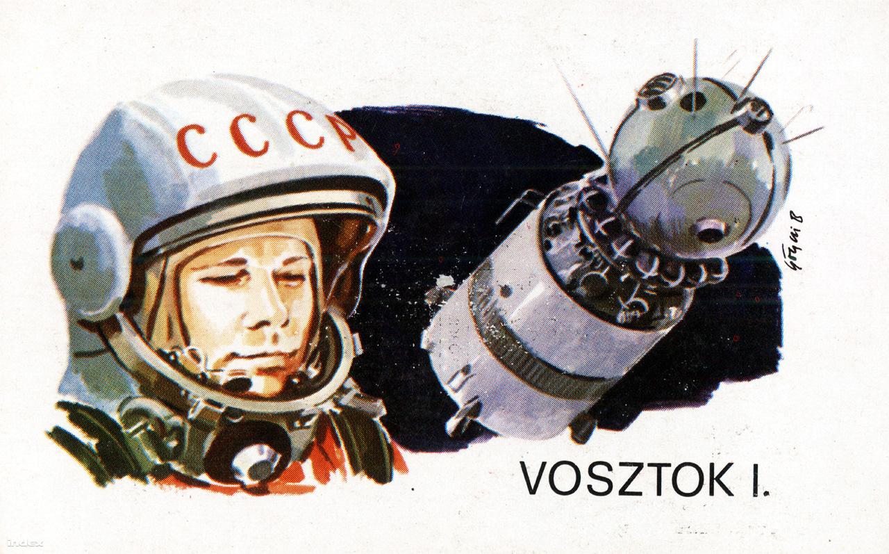 """""""Az első ember kijutott a világűrbe. Jurij Gagarin a VOSZTOK-1 űrhajó fedélzetén 1961. április 12-én másfél óra alatt megkerülte a földet."""" A Magyar Néphadsereg kártyanaptára a szovjet űrkutatás eredményeiről, 1979. Grafikus: Gönczi Béla."""