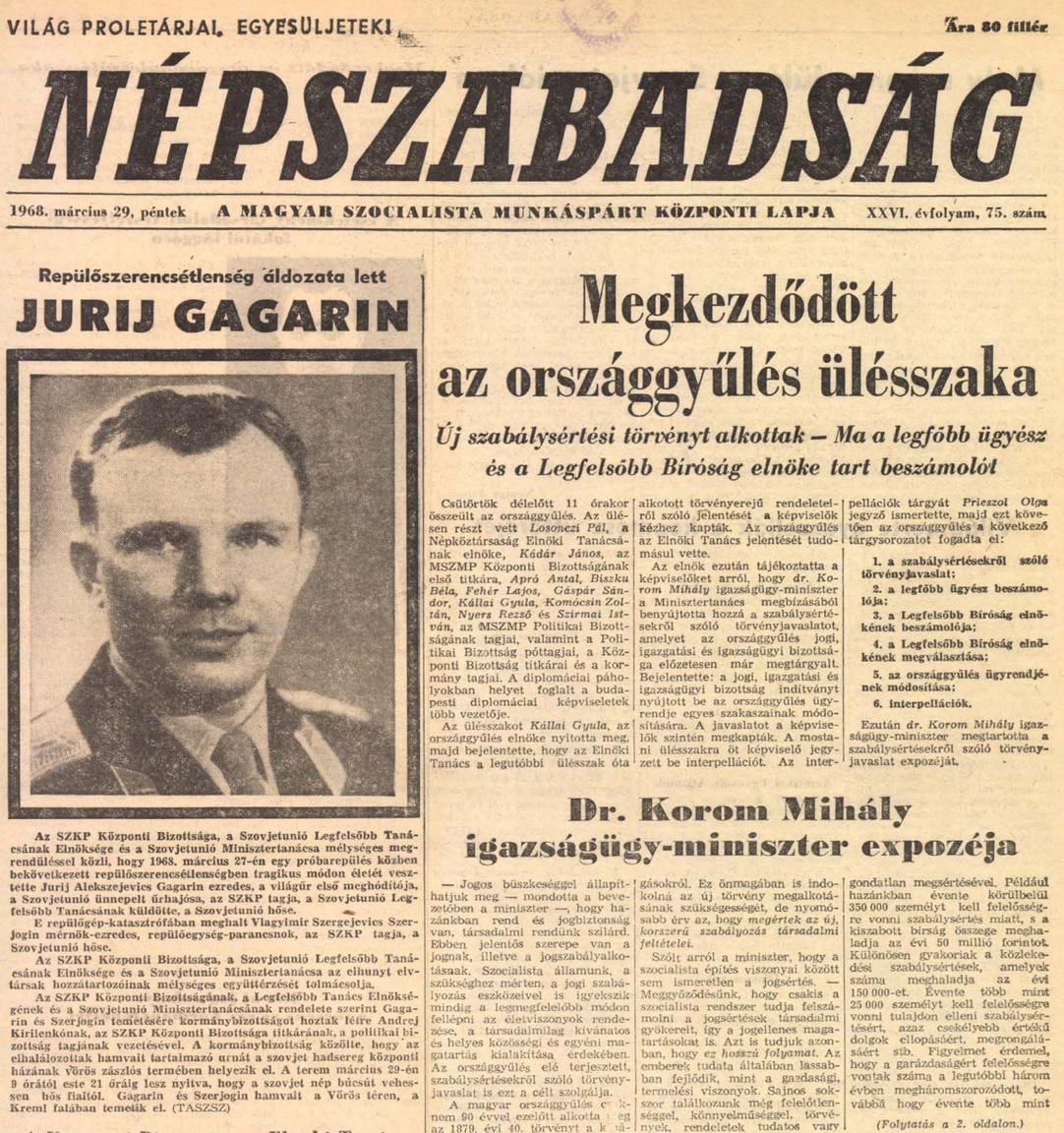 Gagarin halálhíre a Népszabadság címlapján.