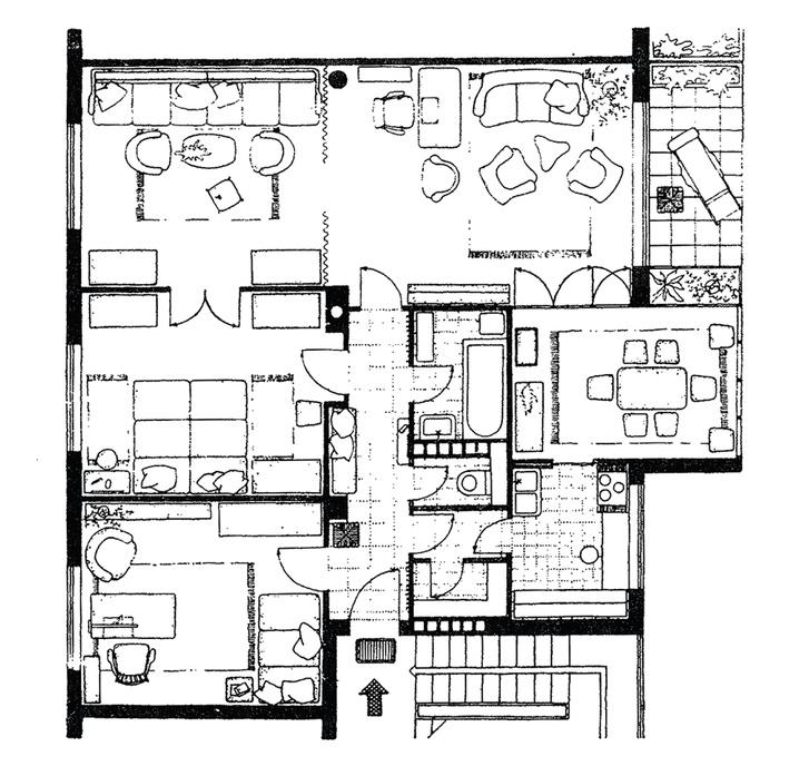 Lakás 4-5 személyes család számára 1946 - Tervező: Kismarty-Lechner Jenő Németh Pál és Wanner János