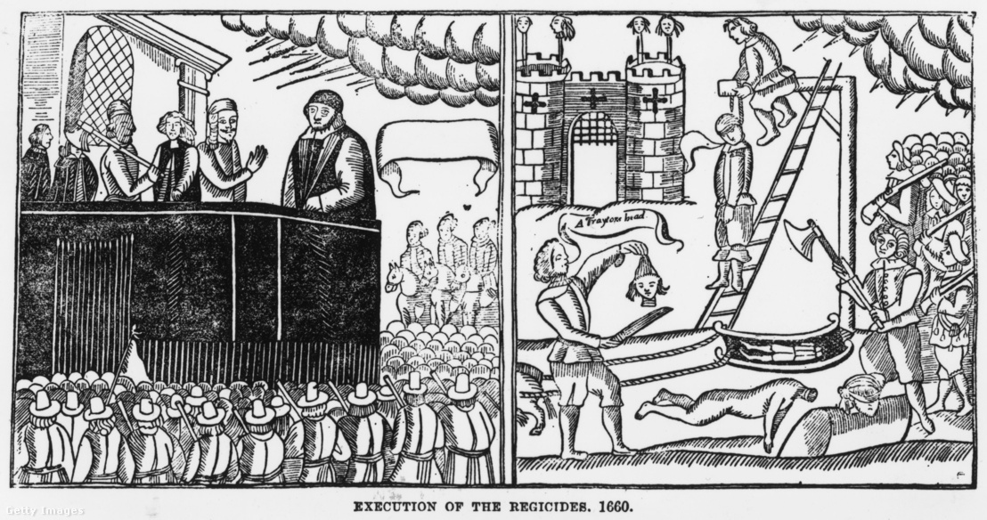 Cromwell földi maradványainak fölakasztása egy korabeli metszeten