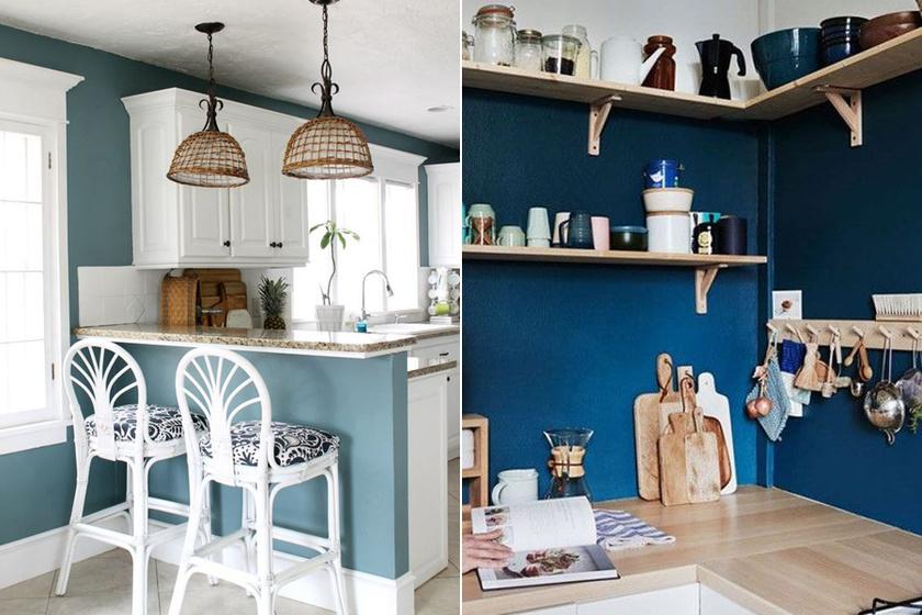 A falak átszínezése merőben más képet adhat a konyhádnak. A kék a nyugalom színe, energiával tölt fel, és motivál, emellett elég semleges ahhoz, hogy sok minden passzoljon hozzá.