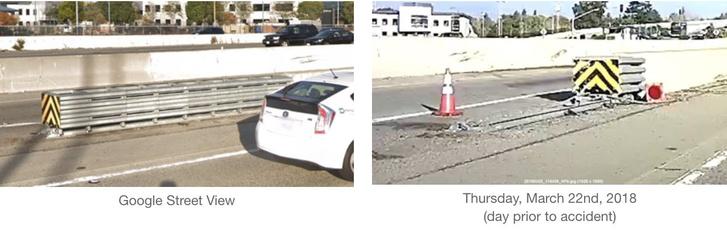 Balra a korlát eredeti állapotában, jobbra egy másik baleset után, napokkal a Tesla balesete előtt