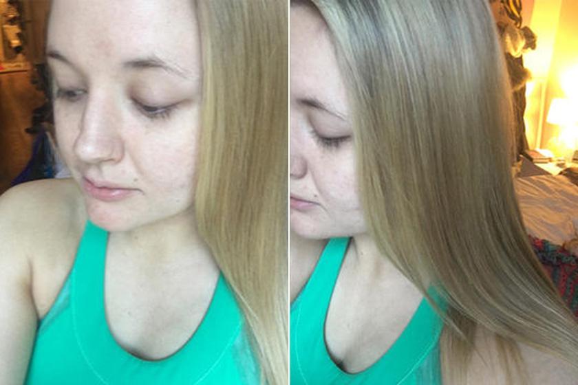Julia a kísérlet végén: egyenletesebb a bőre, és fényesebb, simább a haja.