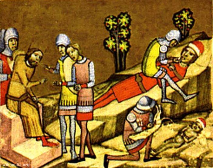 Könyves Kálmán megvakíttatja Álmos herceget és a későbbi II. Béla királyt (Képes Krónika)