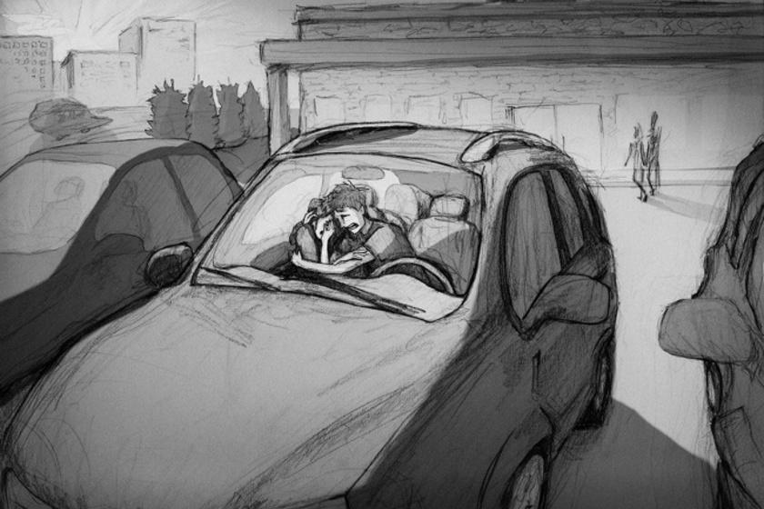 Ez volt az egyik kép, amit megosztott. A férfi a vetélés előtt is lerajzolta várandós feleségével töltött, intim pillanataikat. Az ábrák borzasztóan fájdalmas emlékeket idéztek benne.