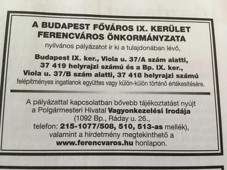 Az önkormányzat hirdetése a HVG-ben: eladó a Viola utca 37/A és B
