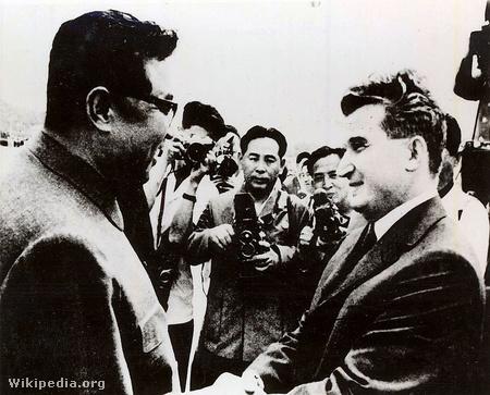 Kim Ir Szen és Nicolae Ceauşescu az utóbbi észak-koreai látogatásán 1971-ben (forrás: fototeca.iiccr.ro/)