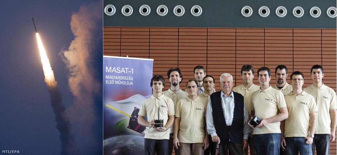 Balra a MASAT-1-et szállító hordozórakéta 2012-ben, jobbra az első magyar műhold fejlesztői a BME-n.