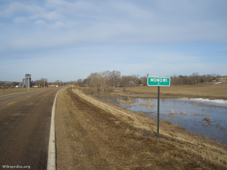 Population sign, Monowi, Nebraska, USA