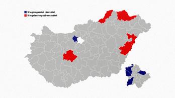 Ezekben a választókerületekben volt a legmagasabb és legalacsonyabb a részvétel