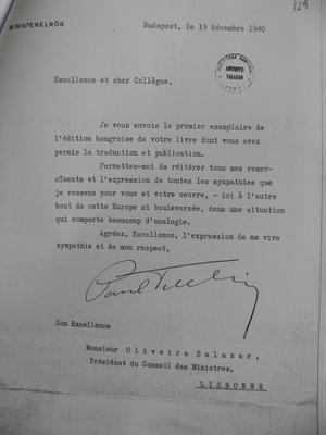 Teleki levele, melyben egy tiszteletpéldányt küld Salazarnak beszédei magyar fordításából, és egyben kifejezi elismerését munkája iránt
