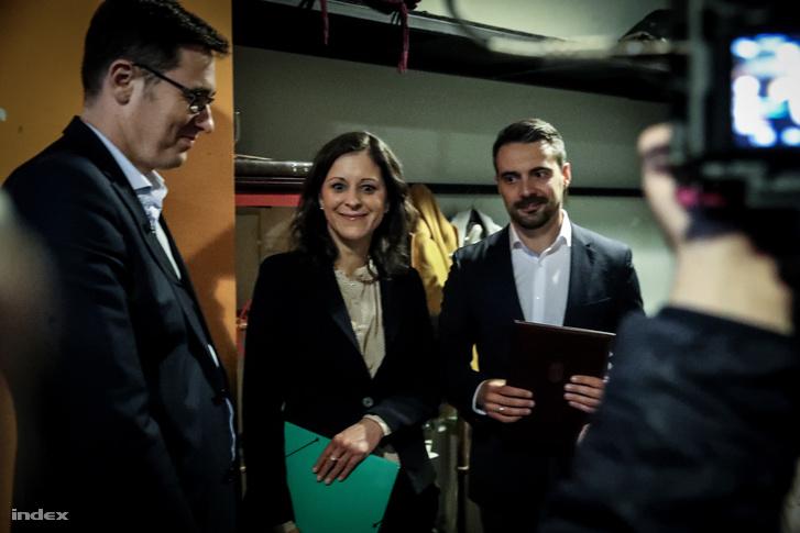 Karácsony Gergely, Széll Bernadett és Vona Gábor a Független Diákparlament szervezésében létrejött miniszterelnök-jelölti vitán 2018. március 12-én