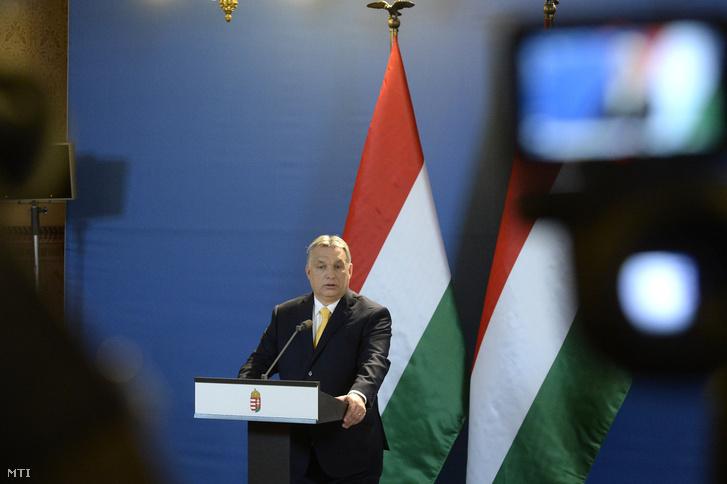Orbán Viktor miniszterelnök nemzetközi sajtótájékoztatót tart az április 8-i választással kapcsolatban az Országházban 2018. április 10-én